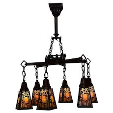Handel Sunset Palm 6 Shades Arts & Crafts Chandelier