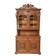 Tall Antique French Hunt Cabinet, Carvings Galore, 19th Century, Oak