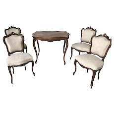 Vintage Louis XV Chairs & Table, Game Table Set, 1940's