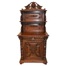 Antique French Hunt Cabinet, Single Door, Oak, 19th Century