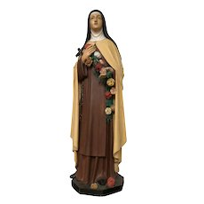Vibrantly Painted Antique Wooden Religious Statue of St. Theresa