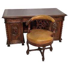 Fantastic Antique French Gothic Desk & Barrel Chair, Oak, 19th Century, Statement Piece