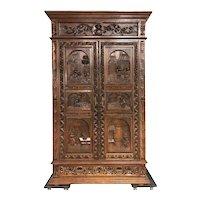 Great Double Door French Breton Storage Cabinet, Oak, 1900's