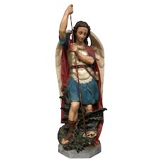 Wonderfully Painted Religious Statue of Saint Michael, Plaster, 1900-1920's, Tall