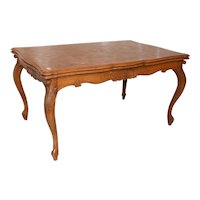 Vintage French Louis XV Dining Table, Pull out Leaves, 1940's, Oak