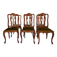 Vintage French Louis XV Dining chairs, Set of Six, 1940's, Oak