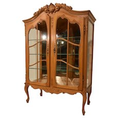 Striking French Louis XV China Cabinet, Mirrored Back, 1940's Oak, Good Value