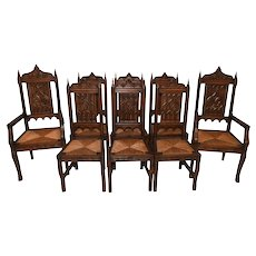 Set of Eight  French Gothic Dining Chairs , Rush Seats, 1920's