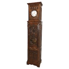 French Gothic Grand Fathers Clock, Oak, 1920's