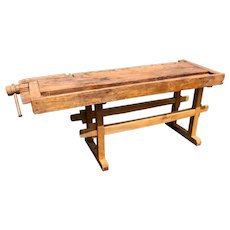 Rustic Antique Work Bench, 19th Century, Restored