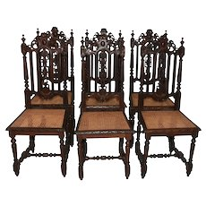 Set of Six Antique French Hunt Dining chairs, Cane Seats, 19th Century
