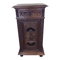 Nice Tall Breton Cabinet, Side Table, or Nightstand, Oak, 1900's