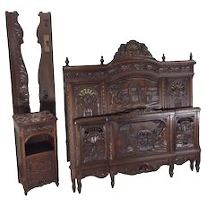 Heavily Carved Antique Breton Bed & Night stand, Oak, 19th Century