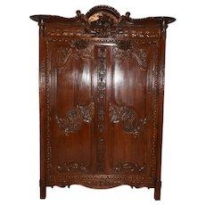 Showy Antique French Wedding Armoire, 19th Century, Oak