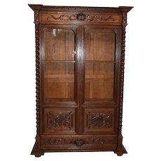 Lovely French Hunt Bookcase , Barley Twist, 19th Century, Oak
