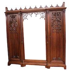 Striking Antique French Gothic Armoire, Mirrored Door, Storage, Walnut, 19th Century