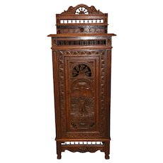 Nice Narrow French Breton Cabinet, Circa 1900, Oak