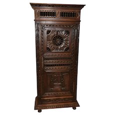 Narrow French Breton Single Door Cabinet, Oak, Circa 1900's