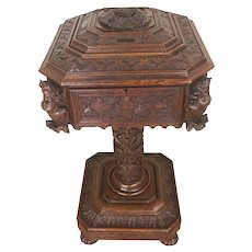 Heavily Carved Antique French Renaissance Chest, 19th Century, Oak