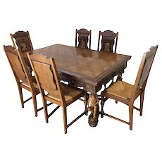Antique French Breton Dining Set, Table & Chair Set, 1900-20's, Oak