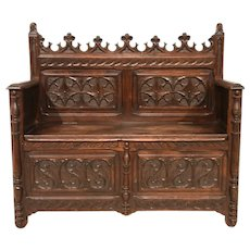 Antique French Gothic Bench, Smaller Size, 19th Century, Chestnut