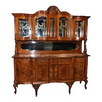 Striking Italian Dining Cabinet, 1930's, Marble Top, Walnut