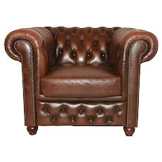 Brown Chesterfield Tufted Arm Chair, 1970's