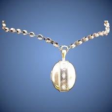 Antique Victorian 12&15 Kt. Gold Book Chain Necklace & Locket      C.1870