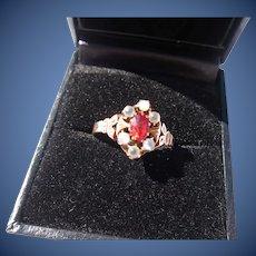 Antique Victorian 12 Kt. Gold Moonstone Garnet Ring   C. 1890
