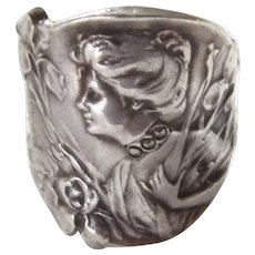 Antique French Art Nouveau  Sterling Silver Ring  C. 1900