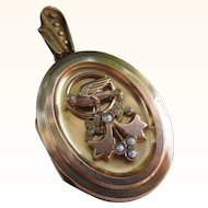 Antique  Victorian 14 kt. Gold Bird Locket          C.1880