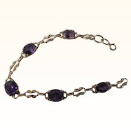 Beautiful Antique Art Nouveau 14 Kt. Gold Amethyst  Bracelet    C.1900