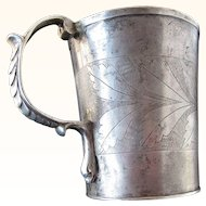Antique Spanish 17 Cent. Colonial Coin Silver Snake Handle Mug      C.1680