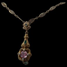 Antique Georgian 18kt .Gold Hungarian Pendant/  18 kt.Necklace with A Beautiful Morganite and     Emeralds     C.1830   on hold