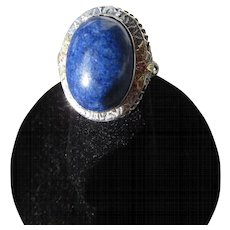 Antique Edwardian 14 kt. Gold Filigree Lapis Ring      C.1900