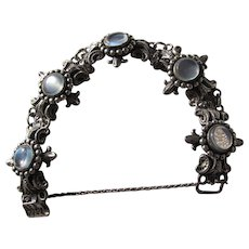Beautiful Arts and Crafts Sterling Silver Moonstone Bracelet Signed Cini  C.1900s