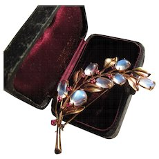 Beautiful Vintage Arts and Crafts 14 kt. Gold Moonstone Rubies Brooch   C.1920