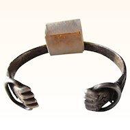 "Very Rare Coin Silver Slavery Cuff "" Breaker of Chains""   Abolitionist   Philadelphia  C. 1750-80"