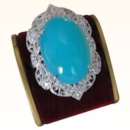 Beautiful  Very Rare Vintage Platinum Peruvian Paraiba Blue Opal