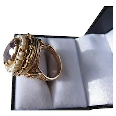 Antique Victorian 15 kt. Gold Amethyst and Pearl Ring.  C.1890