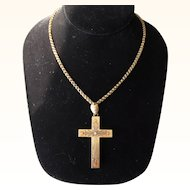 Antique Victorian 15 kt. Gold Cross and Necklace     C.1870