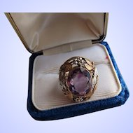 Antique Arts and Crafts  14 kt. Gold Siberian Amethyst Ring.  C.1910  Rare