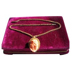 Antique Victorian Craved Coral Pendant 14 kt. Gold Necklace           C. 1860