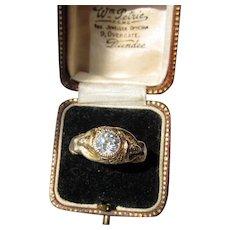 Antique Art Nouveau Nudes 15 kt Gold 1 Carat Diamond  Ring   .1900