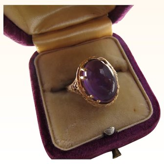 Antique  Edwardian 14 kt. Gold Filagree Amethyst  Ring.   C. 1900