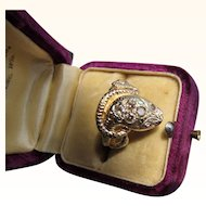 Beautiful Vintage  14 kt. Gold Diamond Snake Ring.  C.1960