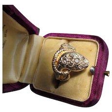 Beautiful Vintage  14 kt. Gold Diamond Snake Ring.  C.1960