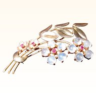 Beautiful Vintage  14 kt. Gold Moonstone Flower Brooch Signed Tiffany & Co.   C.1930