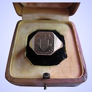 "Antique Victorian 18 kt. Gold "" Coat of Arms' Ring  C.1890"