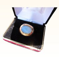 Beautiful Vintage 14 kt. Gold Blue Moonstone Ring   C.1960